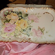 Limoges Large Gorgeous Tray with Yellow/Pink Roses