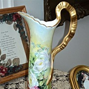 Exquisite Pitcher Twisted Ribbon Handle & Gorgeous Limoges Roses