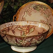 "Limoges Huge Punch Bowl with Golden White Grapes & Matching 15.5"" Tray"