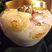 Gorgeous Limoges Jardiniere Two Looks: Pink/Red Roses and Yellow Roses with Gold