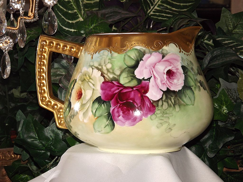 German Hand Painted Cider Pitcher with Limoges Red/Pink/Yellow Roses and Gold Detailing