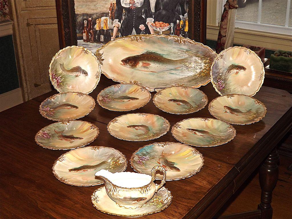 Splendid limoges fish set signed dubois platter 11 plates for Plenty of fish lincoln ne