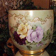 Limoges Huge Jardiniere Pink/Red/Yellow/White Roses, Raised Gold & White Enamel Beading