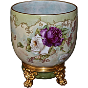 Limoges Huge Jardiniere Pink/Red/Yellow/White Roses and Lovely Raised Gold & White Enamel Beading with Heavy Gold Embellishments together with Matching Gold Paw Footed Plinth
