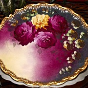 Haviland Limoges Vibrant Oval Rose Charger/Platter/Tray Signed by Master Artist Dubois