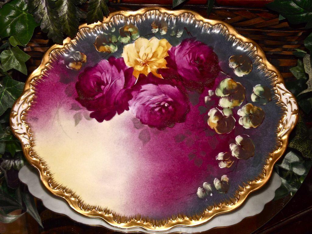 Haviland Limoges Vibrant Oval Rose Charger Platter Tray