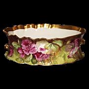 Limoges Spectacular Jardiniere/Vase/Bowl Stunning Pink/Red/White Roses Signed