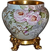 Limoges Jardiniere Pink and White Roses with Heavy Gold Scroll and Fret Work and Matching Gold Gild Paw Footed Plinth/Base