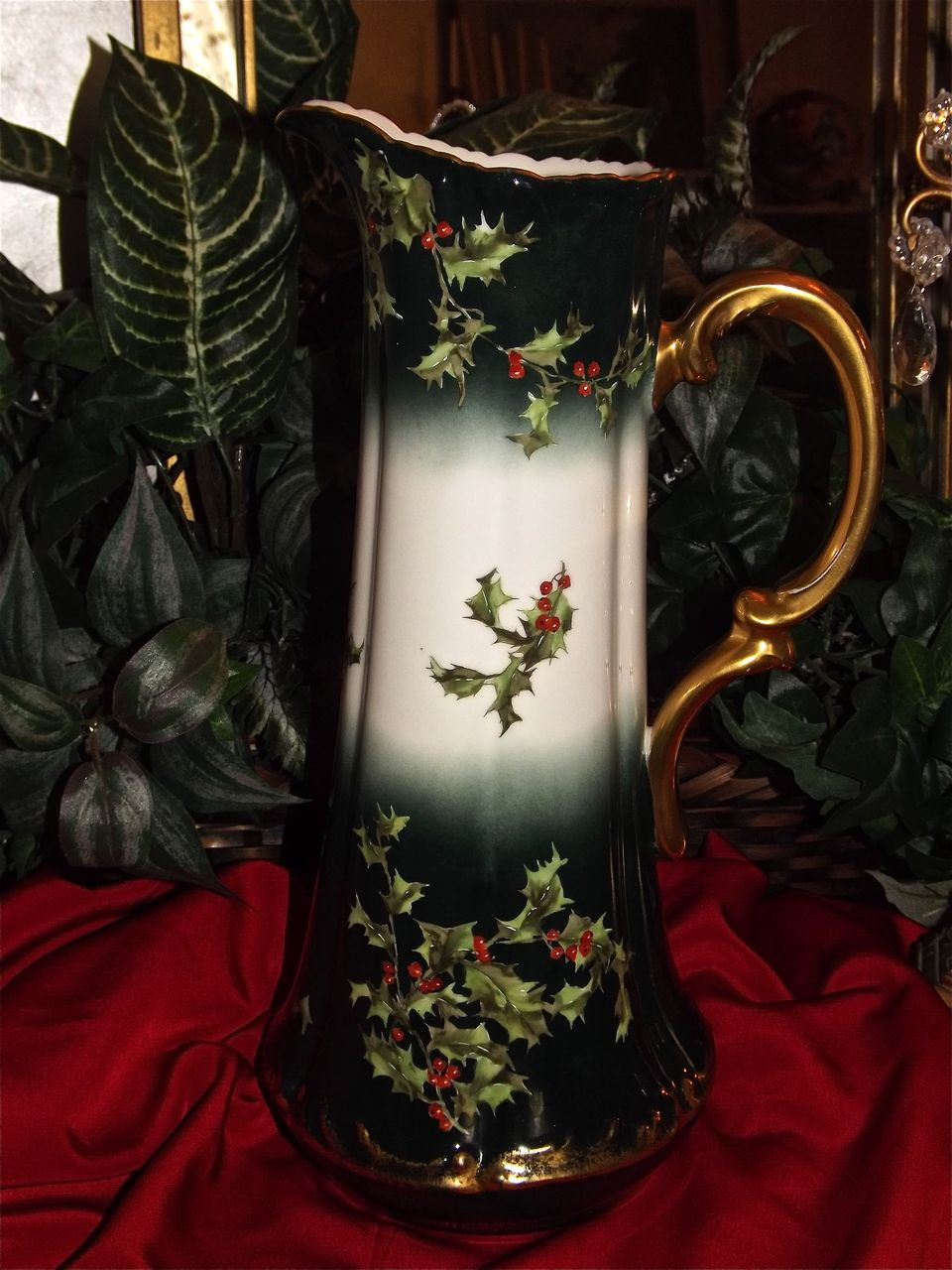 Limoges Huge Holly Berry Pitcher/Tankard