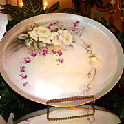 Limoges Large Oval Tray with Yellow Roses and Bleeding Hearts