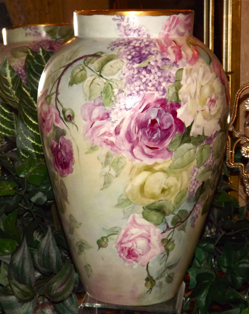 Limoges huge signed vase filled with pinkredwhite roses and limoges huge signed vase filled with pinkredwhite roses and purple all things love lee ruby lane reviewsmspy