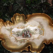 Limoges Large Ornate Gold Encrusted Charger/Tray Unique Carriage Scenic Decor