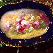 Limoges HUGE Stunning Rare Cobalt Platter/Tray/Plaque with Pink Roses Signed Master Artist A. Broussillon