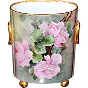 Limoges Large Cache Pot/Vase with Romantic Pink Roses and Gold Handles