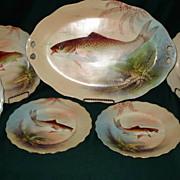 Limoges Blakeman & Henderson Fish Set Signed Baumy