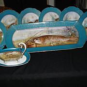 Limoges Fish Set: Platter, 12 Plates & Gravy Boat