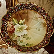 Nippon Moriage Gold Encrusted Bowl White/Peach Flowers