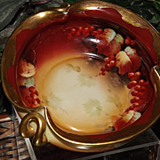 Pickard Stunning Red Currant and Gold Etched Handled Bowl Signed Vokral