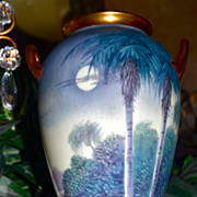 Pickard Vellum Inspired Vase Moon and Palm Trees Signed Listed Pickard Artist Marker