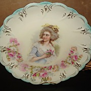 Prussia Plate Nickle Mark Colonial Lady Holding Flowers