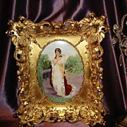 Prussia EXQUISITE Portrait on Porcelain of Queen Louise in Ornate Gold Frame