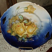 Prussia Prov Saxe Two Handled Cobalt Plate Yellow Roses