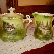 Prussia Mold 576 Creamer/Sugar Cottage & Castle Decor