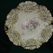 "Prussia Red Mark ""Sunflower"" Mold Cake Plate with Roses"