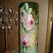 Stunning Willets Belleek Cylinder Signed Vase with Roses