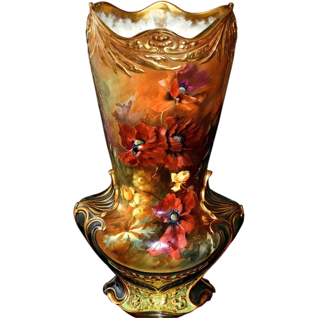 Colossal 22 royal bonn vase with vibrant orange poppies and colossal 22 royal bonn vase with vibrant orange poppies and yellow all things love lee ruby lane reviewsmspy