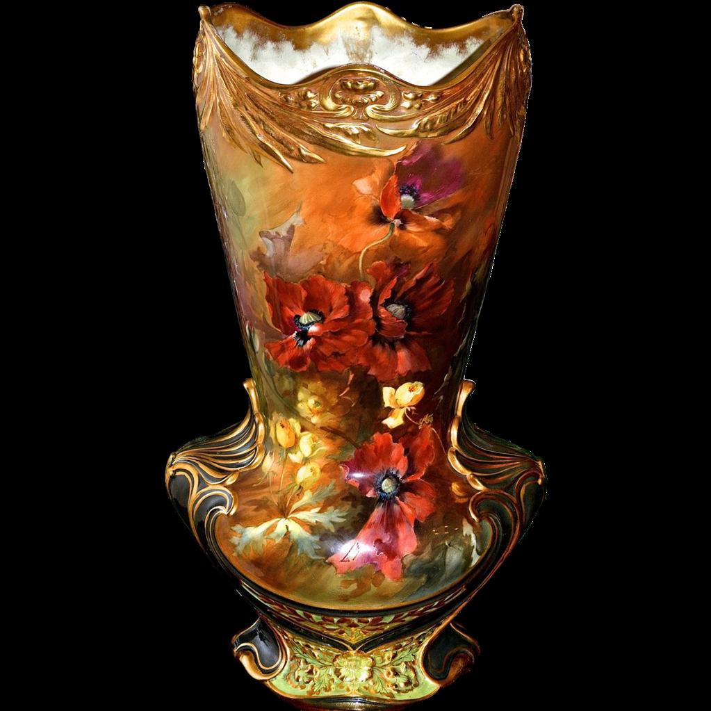 Colossal 22 royal bonn vase with vibrant orange poppies for Deco pour vase transparent