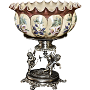Brides Basket: Unique Mt Washington Melon Ribbed Brides Bowl with Decorated Enamel Floral Panels and Gold Embellishments on Wonderful Derby Three Winged Cherubs Silver Plates Basket