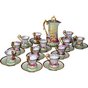 Limoges Breathtaking Chocolate Service Set Covered in Romantic Pink, Yellow and Red Roses with Heavy Gold Embellishment
