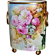 "Limoges Huge 12.5"" Signed Cache Pot/Vase Covered Front to Back in Large Romantic Pink Roses"