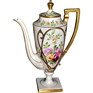 Limoges Gorgeous Signed Chocolate Pot/Coffee Pot with Roses and Intricate Gold Decor