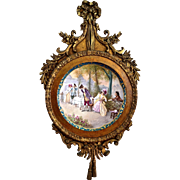 Limoges Magnificent HP Scenic Wall Plaque/Charger Signed Dubois in Original Ornate Period Wood Carved Frame