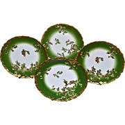 Limoges Set of Four (4) Holly Berry Plates