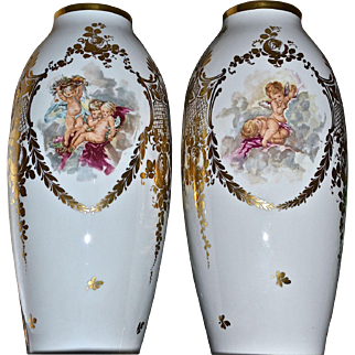 """Limoges Pair of 16"""" Vases Scenic Putti Playing with Gold Flourishes and Embellishments"""