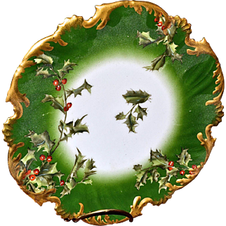 """Limoges 8.5"""" Holly Berry Plate"""