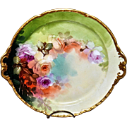 "Limoges 10.5"" Plate with Romantic Roses Signed By Leading Pickard Master Artist Thomas M. Jelinek"