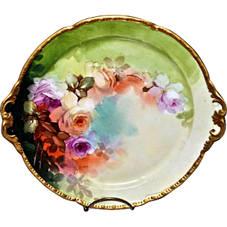 """Limoges 10.5"""" Plate with Romantic Roses Signed By Leading Pickard Master Artist Thomas M. Jelinek"""