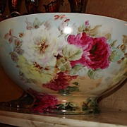 J&S Silesia, Germany Handpainted Signed Punch Bowl with Roses