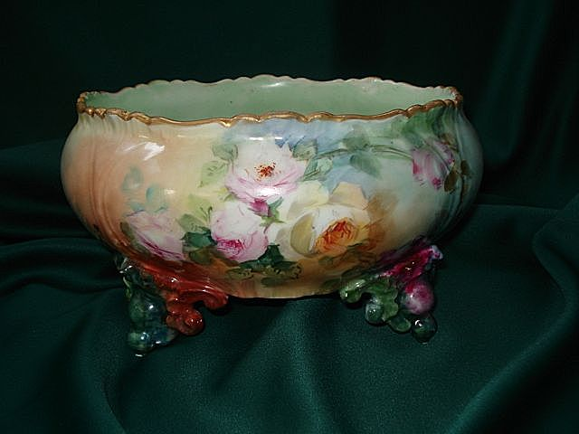 Limoges Footed Rose Filled Ferner Signed HM