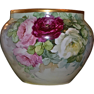 Limoges Large Fantastic Jardiniere/Planter/Vase with Red, Pink and White Roses