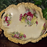 Large Limoges Two Handled Oval Bowl with Red and White Roses Signed Ritt