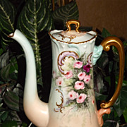 Limoges Gorgeous Tea/Coffee/Chocolate Pot with Pink and Red Roses and Raised Gold Work