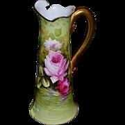 Limoges Pitcher/Tankard Reflecting Pink Roses Signed Master Artist LeRoy