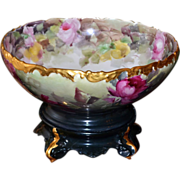 Limoges Stunning Romantic Rose Filled Signed Punch Bowl with Plinth