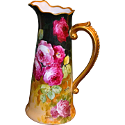 Limoges Wonderful Tall Hand Painted Rose Pitcher with Scrolled Gold Encrusted Beaded Handle Signed Master French Artist Segur
