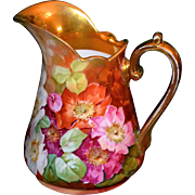 Limoges Lovely Pitcher With White, Pink and Dark April Rambling Roses and Heavy Gold Signed Master Artist A. Bronssillon
